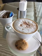 Latte and a cookie at the Hilton Hotel in Pattaya, Thailand